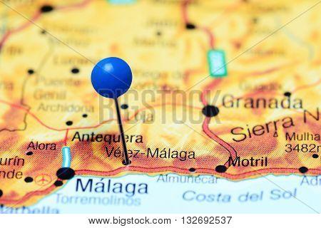 Velez-Malanga pinned on a map of Spain