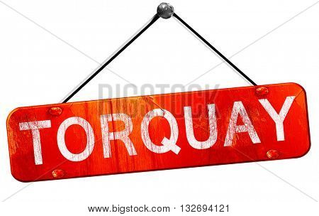 Torquay, 3D rendering, a red hanging sign