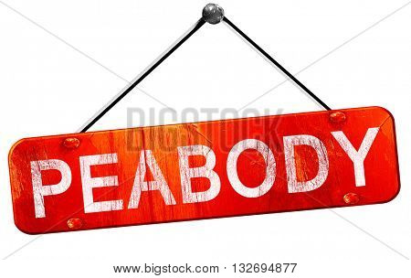 peabody, 3D rendering, a red hanging sign