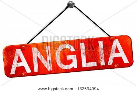 Anglia, 3D rendering, a red hanging sign