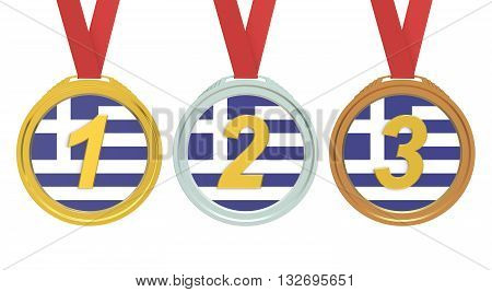 Gold Silver and Bronze medals with Greece flag 3D rendering