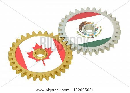 Mexico and Canada flags on a gears 3D rendering isolated on white background