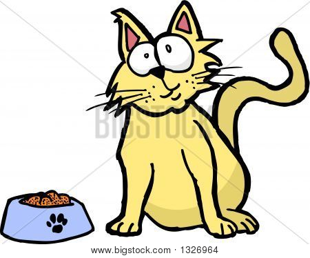 Silly Cat With Food