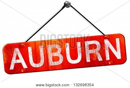auburn, 3D rendering, a red hanging sign