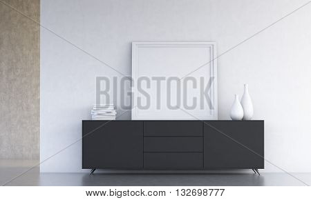 Black cupboard with vases book and blank picture frame on concrete wall background in room. Mock up 3D Rendering