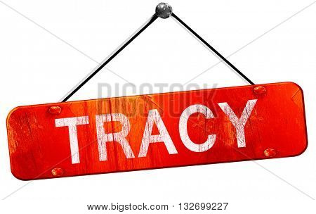 tracy, 3D rendering, a red hanging sign