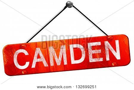 camden, 3D rendering, a red hanging sign