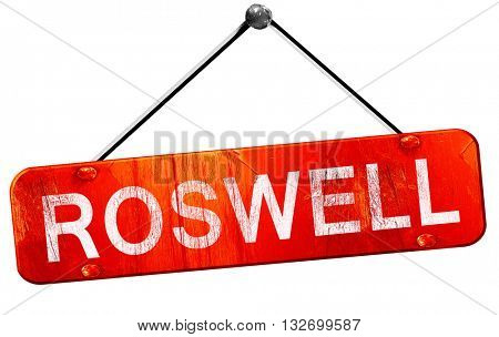 roswell, 3D rendering, a red hanging sign