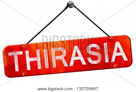 Thirasia, 3D rendering, a red hanging sign