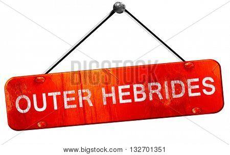 Outer hebrides, 3D rendering, a red hanging sign poster