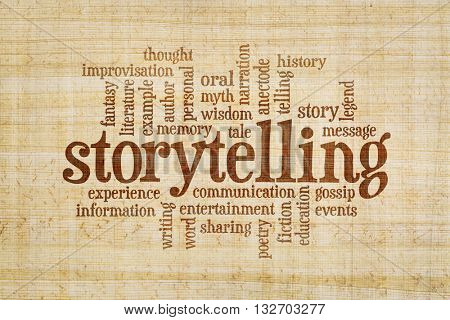 story and storytelling word cloud on a hand made papyrus paper