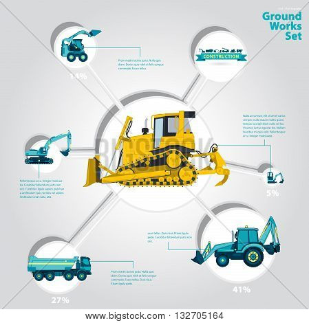 Construction machinery infographic big set of ground works machines vehicles on white background. Catalog page. Heavy equipment for building truck digger bagger excavator transportation master vector.