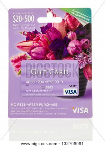 Winneconne WI - 25 May 2016: Visa gift debit card on an isolated background