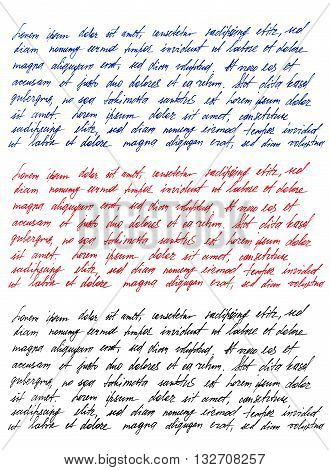 Handwritten letter. Latin text Lorem ipsum. Handwriting. Calligraphy. Manuscript. Script. Font. Abstract texture background