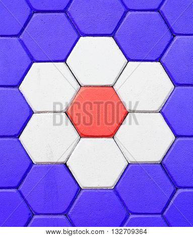 Hexagonal brick flooring background. Paving Hexagon brick walkway ;The pattern of stone block paving