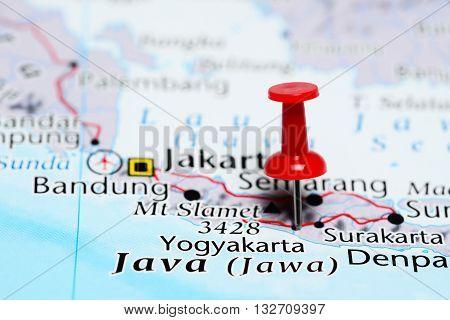 Yogyakarta pinned on a map of Indonesia