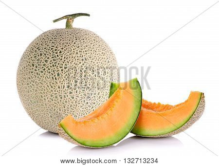 Melon Fruit Isolated On The White Background