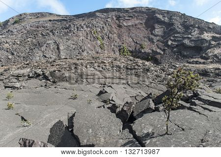 Surface of the Kilauea Iki Crater showing crumbling lava rock in Volcanoes National Park in Hawaii United States.