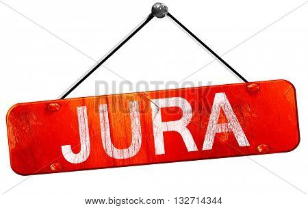 Jura, 3D rendering, a red hanging sign
