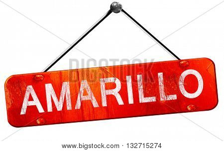 amarillo, 3D rendering, a red hanging sign