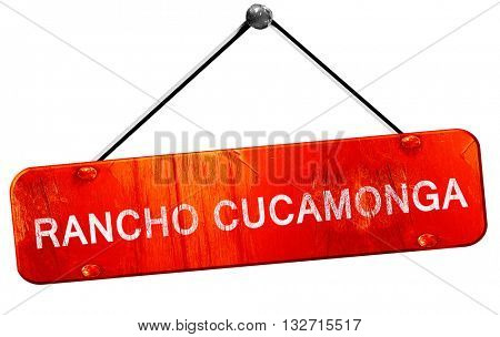 rancho cucamonga, 3D rendering, a red hanging sign