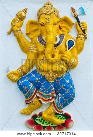 Indian or Hindu ganesha God Named Naritaya Ganapati at temple in thailand ;The conviction will be used hand to apply to the Lord for get the wishes.