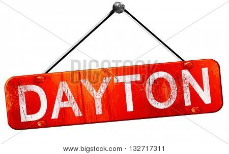 dayton, 3D rendering, a red hanging sign