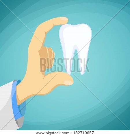 Doctor dentist holding a human tooth in his hand. Stock Vector cartoon illustration.