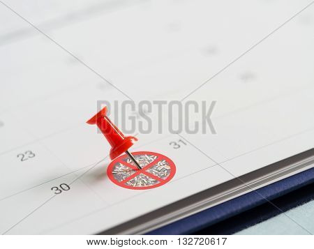Red pin on 31 May calendar with no cigarette tobacco sign. Target to quit smoking. Concept of World No Tobacco Day in 31 May stop smoking do not smoke quit smoking protect your health and other.