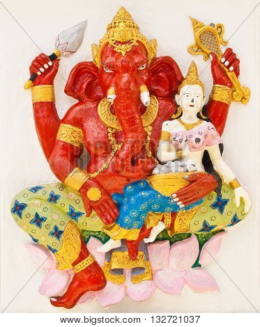 Indian or Hindu ganesha God Named Sankatahara Ganapati at temple in thailand ;The conviction will be used hand to apply to the Lord for get the wishes.