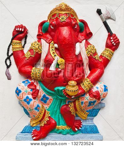Indian or Hindu ganesha God Named Dhundhi Ganapati at temple in thailand ;The conviction will be used hand to apply to the Lord for get the wishes.