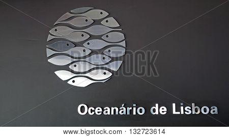LISBON, PORTUGAL: JUNE 16, 2015: Logo on the facade of the Lisbon Oceanarium modern building, Portugal