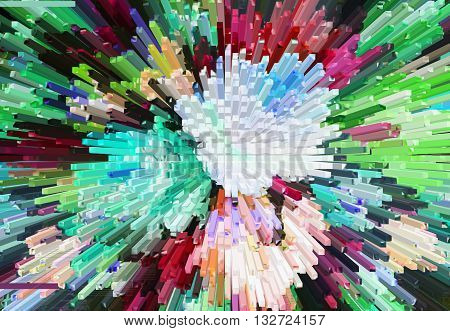 Color Extrusion  Blocks Abstract Colorful 3D Extrusion Background Flowers, Floral Pattern