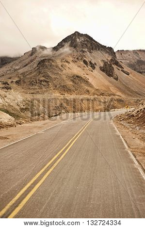 A Peruvian roadway near Arequipa Peru in the Caylloma Province on a cloudy day.
