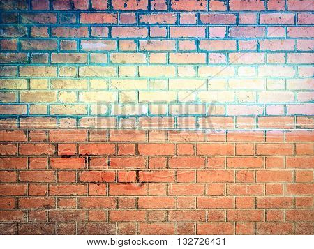 Bule Ocean And Sky On Red Brick Wall Texture