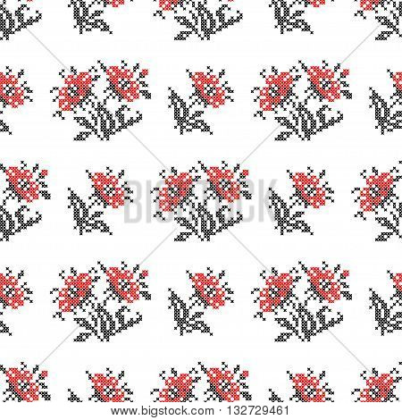 Seamless isolated texture with abstract red embroidered flowers with leaves for cloth. Embroidery. Cross stitch.