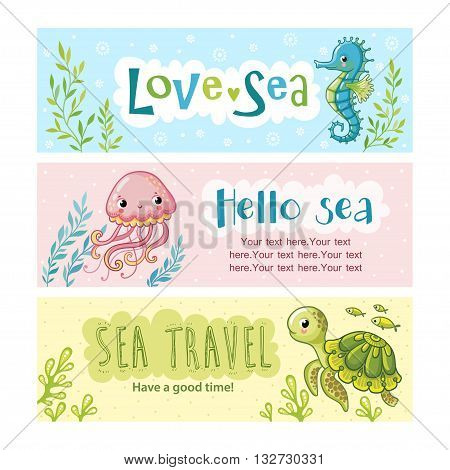 Set of vector banners on the marine theme and place for your text. Blue sea horse among the seaweed and flowers. Pink jellyfish among seaweed. Sea turtle among algae and small marine fish.