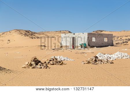 Abandoned building in desert near Nubian village in Egypt.