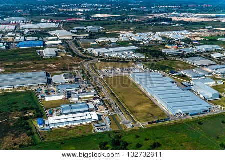 Industrial estate land development, earthmoving and construction aerial view