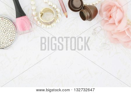 Feminine beauty background - pink and white