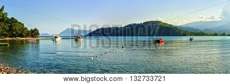 Panoramic view of Mediterranean sea coast at Phaselis (15 km from Kemer) in Antalya Turkey