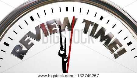 Review Time Clock Evaluation Rating Words 3d Illustration
