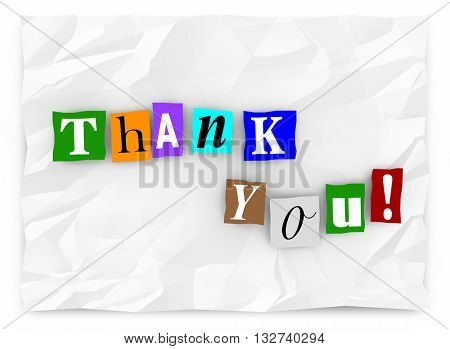 Thank You Note Message Cutout Ransom Letters 3d Illustration