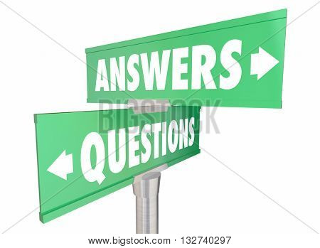 Questions Answers Q and A Words Signs 3d Illustration