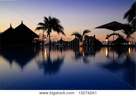 Beach Resort Pool Sunset