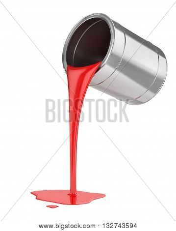 Spilled red paint from a bucket. Vector