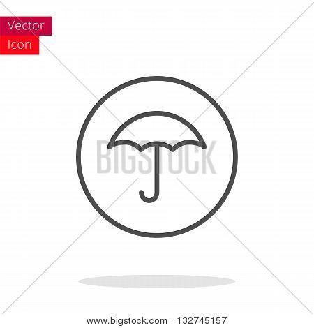 Umbrella Thin Line Icon. Umbrella Icon in circle. Vector Umbrella Icon. Round Umbrella Icon. Umbrella Icon On white background. Umbrella Icon Illustration.