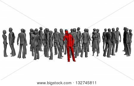 Vector illustration of a crowd of gray people and released the red man. 3D. Polygons. Isolated. EPS 8.