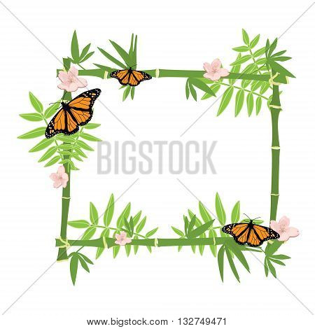 Vector illustration tropical island frame border poster with exotic flowers butterflies and plants. Bamboo frame. Monarch butterfly