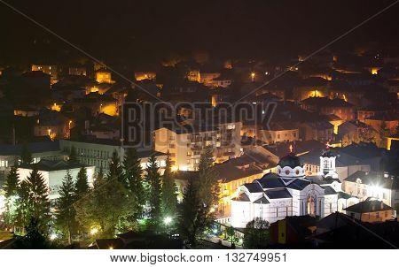small bulgarian mountain village in the night